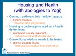 housing and health with apologies to yogi
