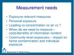 measurement needs