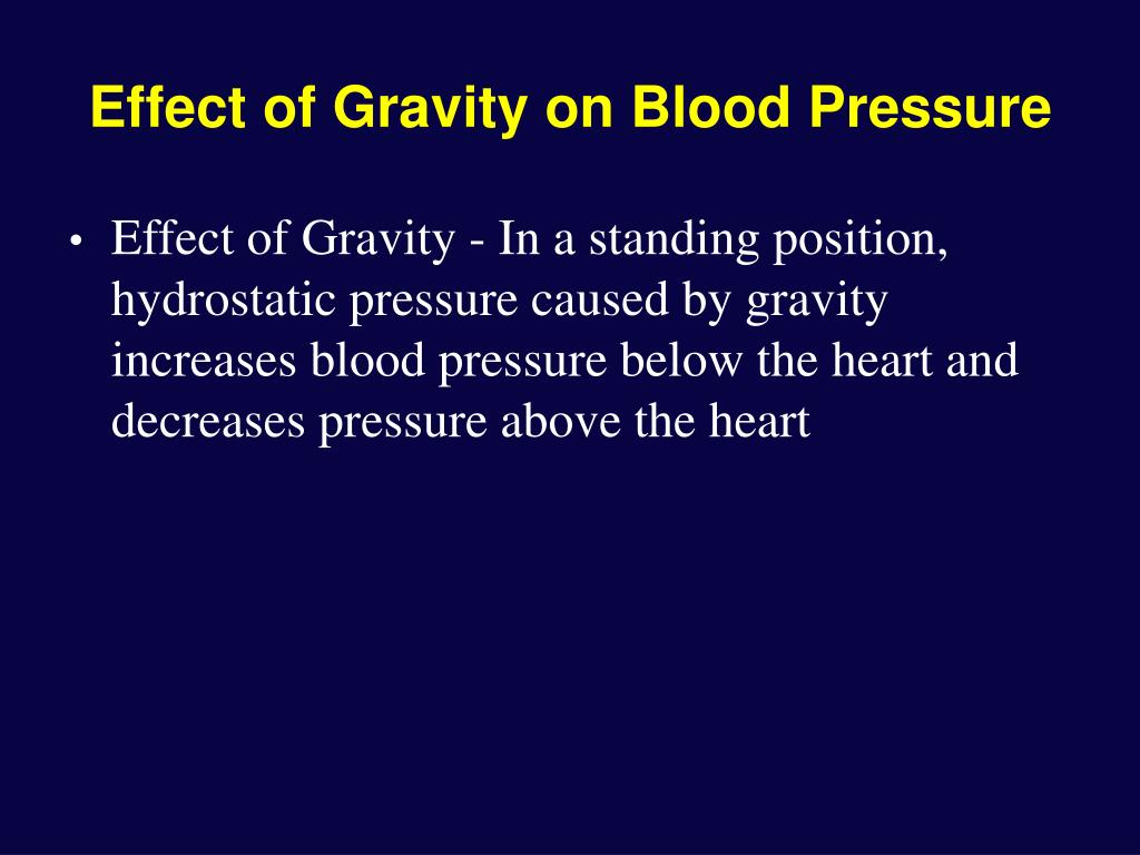 Effect of Gravity on Blood Pressure