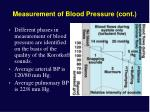 measurement of blood pressure cont