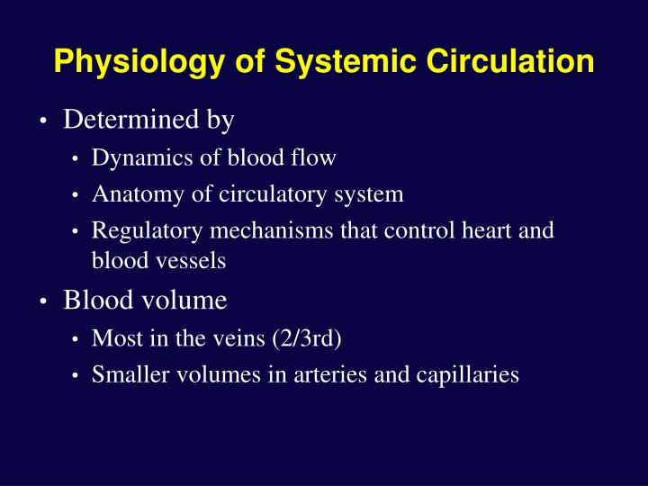 Physiology of systemic circulation