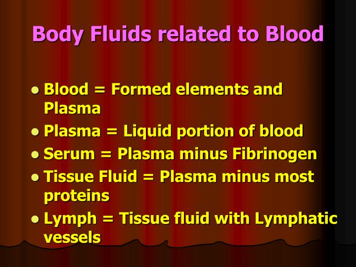 Body fluids related to blood