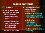 plasma contents