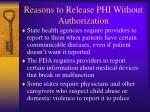 reasons to release phi without authorization