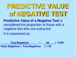 predictive value of negative test