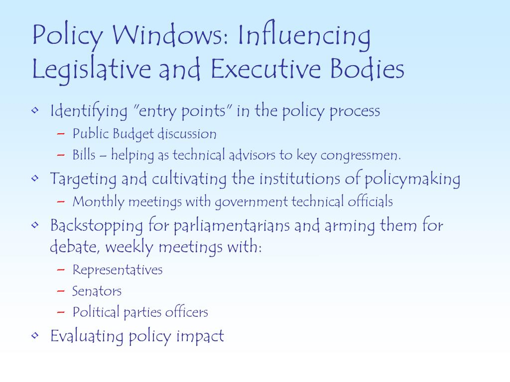 Policy Windows: Influencing Legislative and Executive Bodies