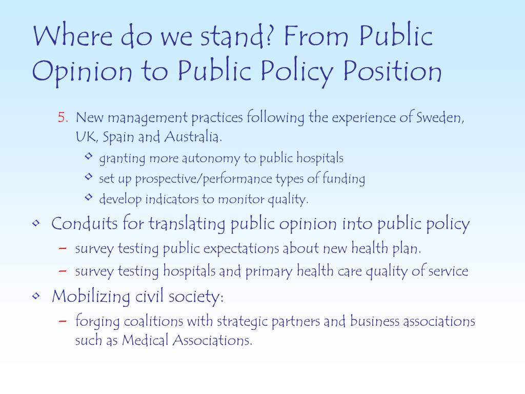 Where do we stand? From Public Opinion to Public Policy Position