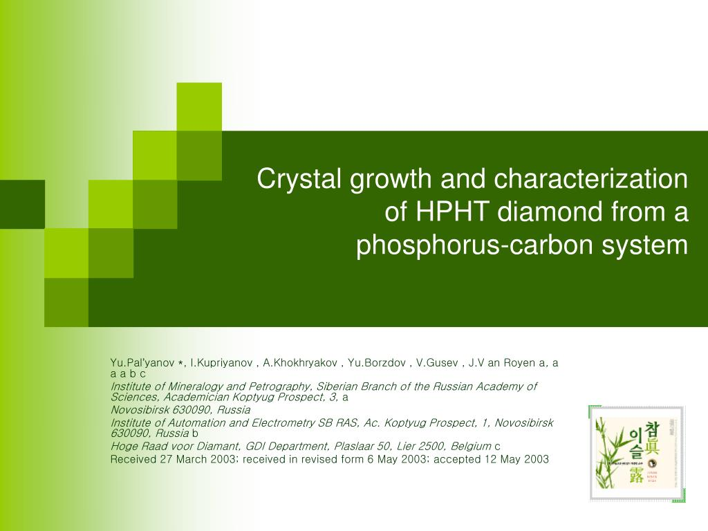 crystal growth and characterization of hpht diamond from a phosphorus carbon system l.