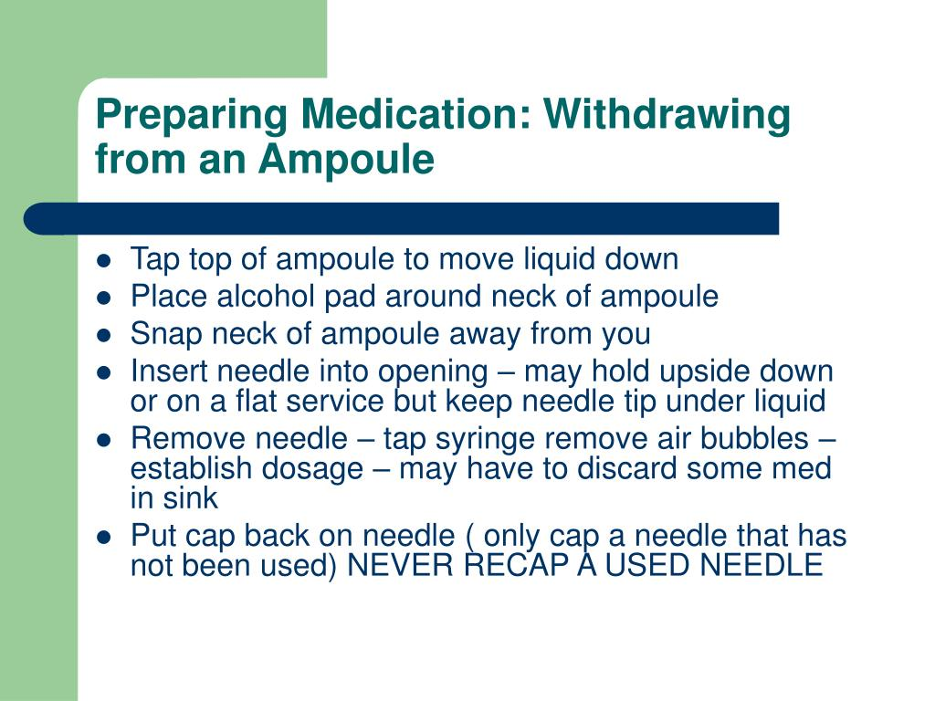Preparing Medication: Withdrawing from an Ampoule