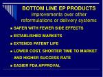 bottom line ep products improvements over other reformulations or delivery systems