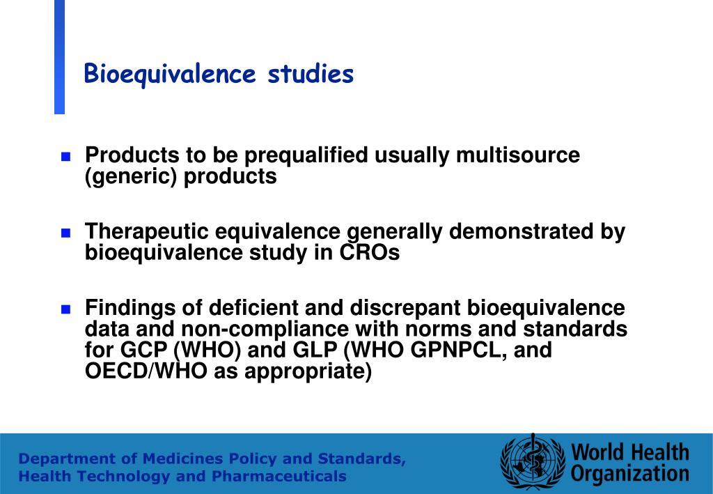 Bioequivalence studies