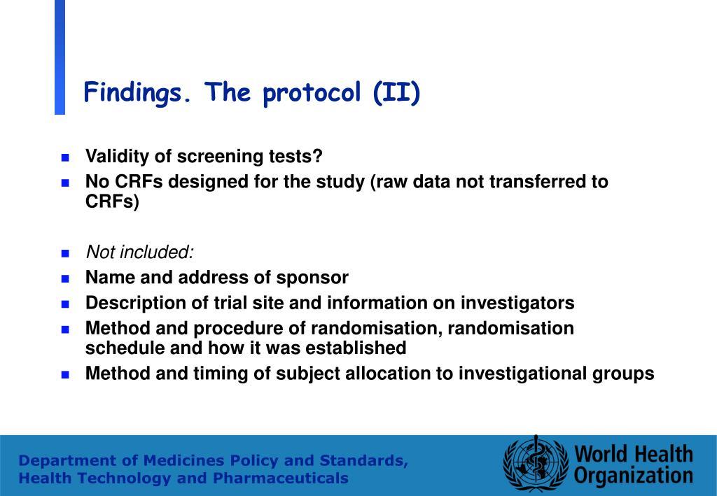 Findings. The protocol (II)