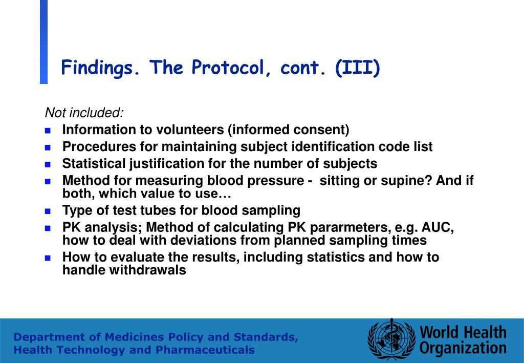 Findings. The Protocol, cont. (III)