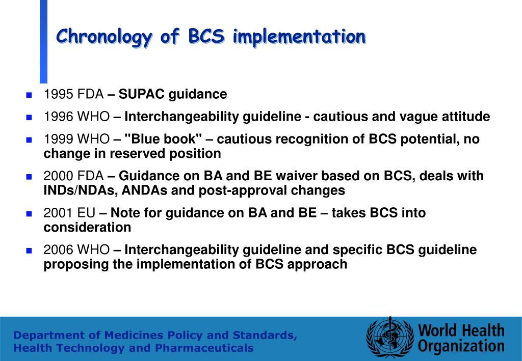 Chronology of BCS implementation