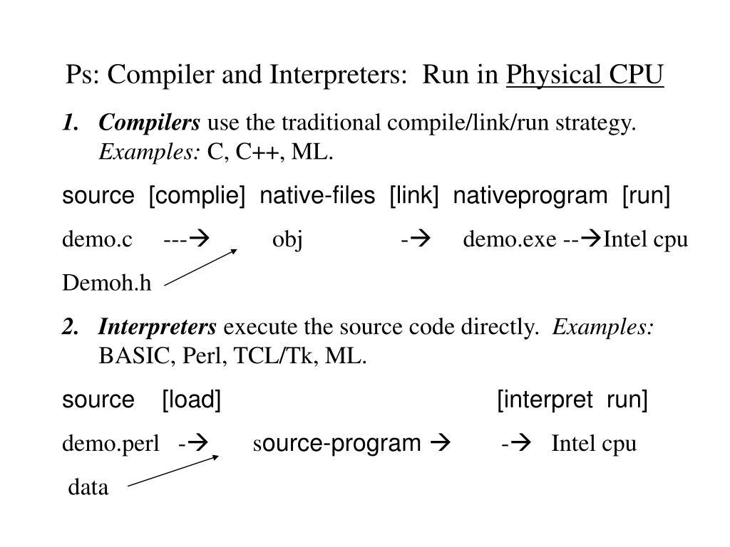 Ps: Compiler and Interpreters:  Run in
