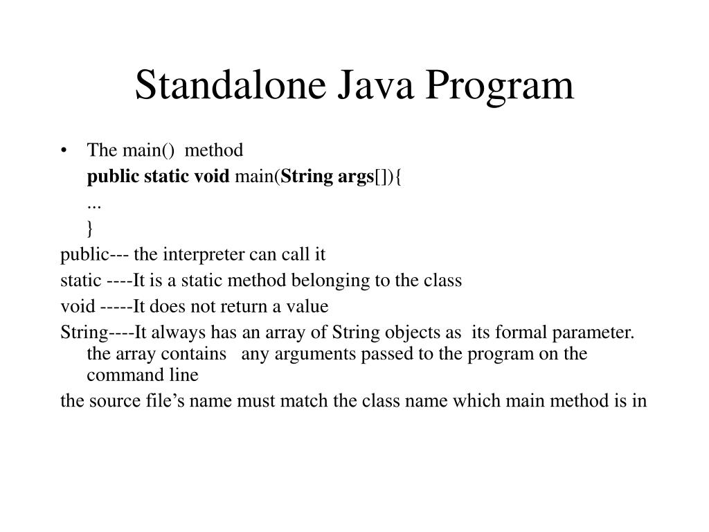 Standalone Java Program