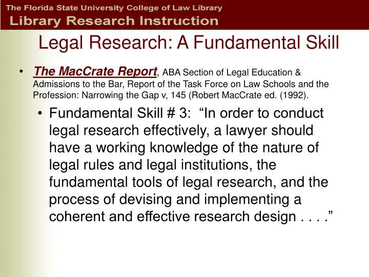 Legal research a fundamental skill