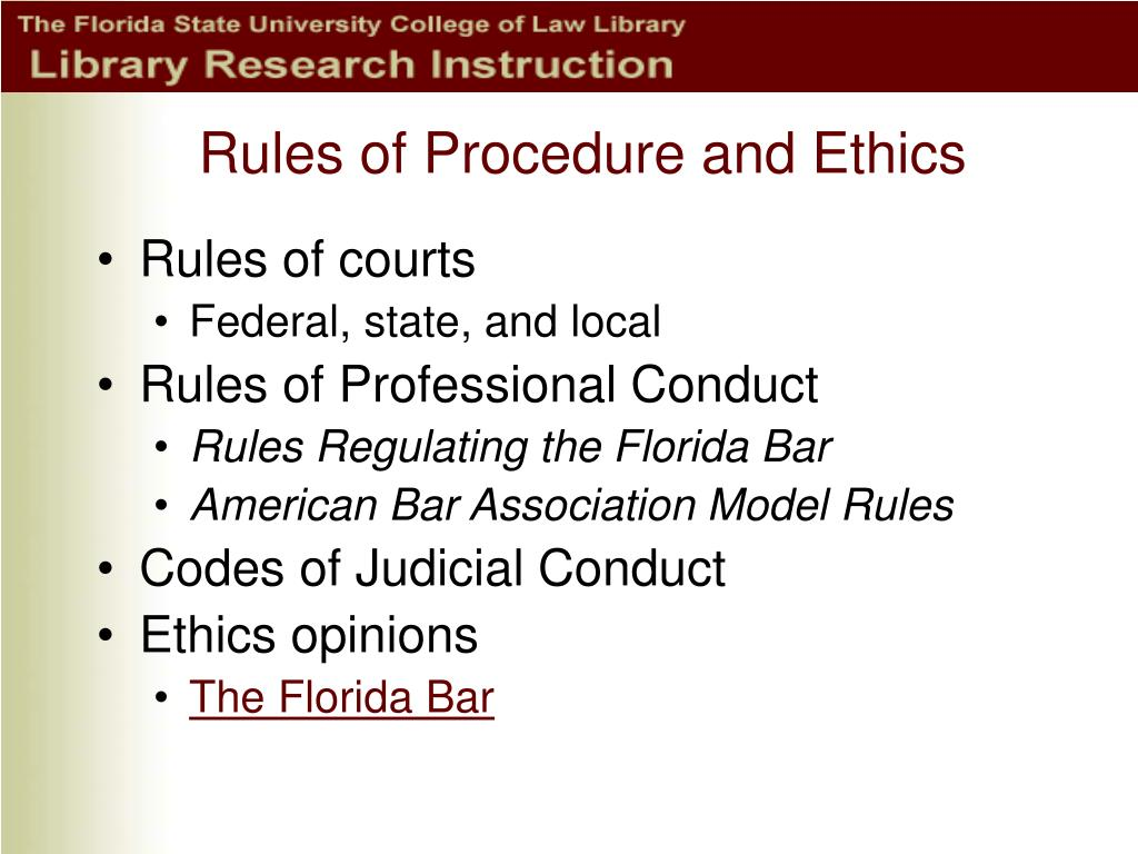 florida bar association rules of professional