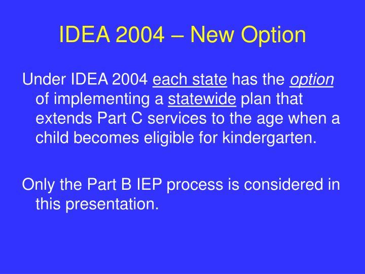 IDEA 2004 – New Option