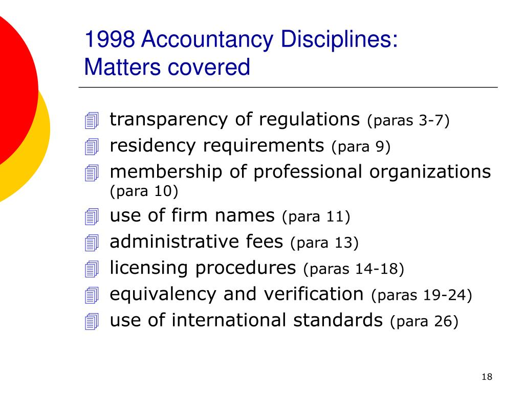 1998 Accountancy Disciplines: