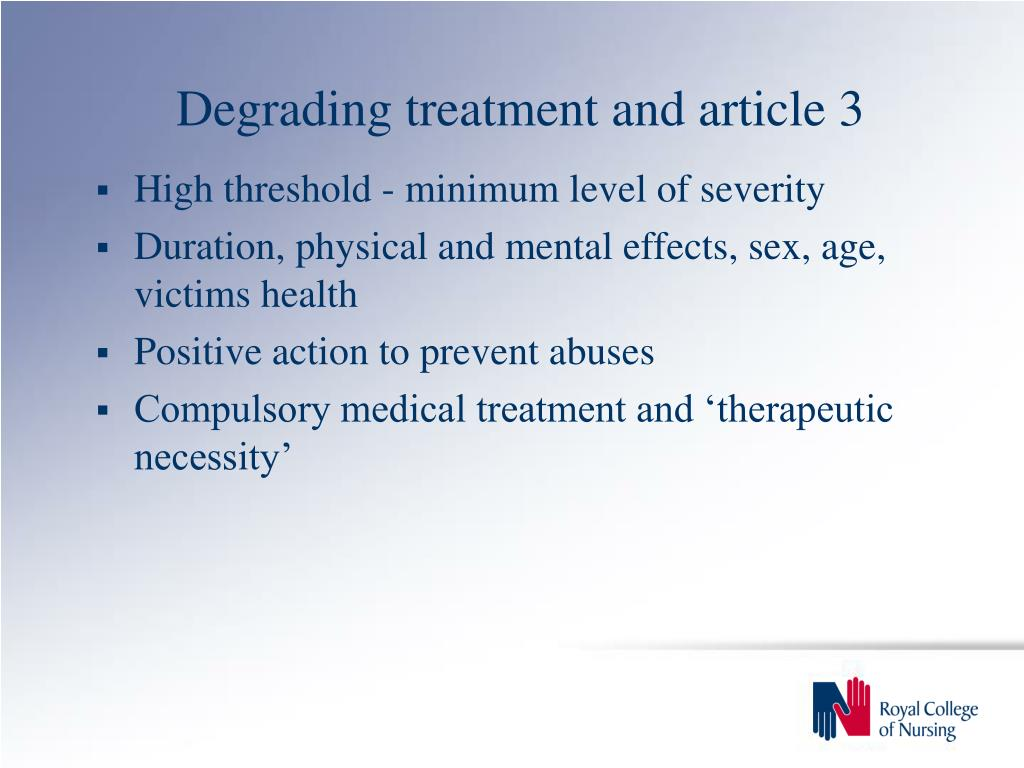 Degrading treatment and article 3