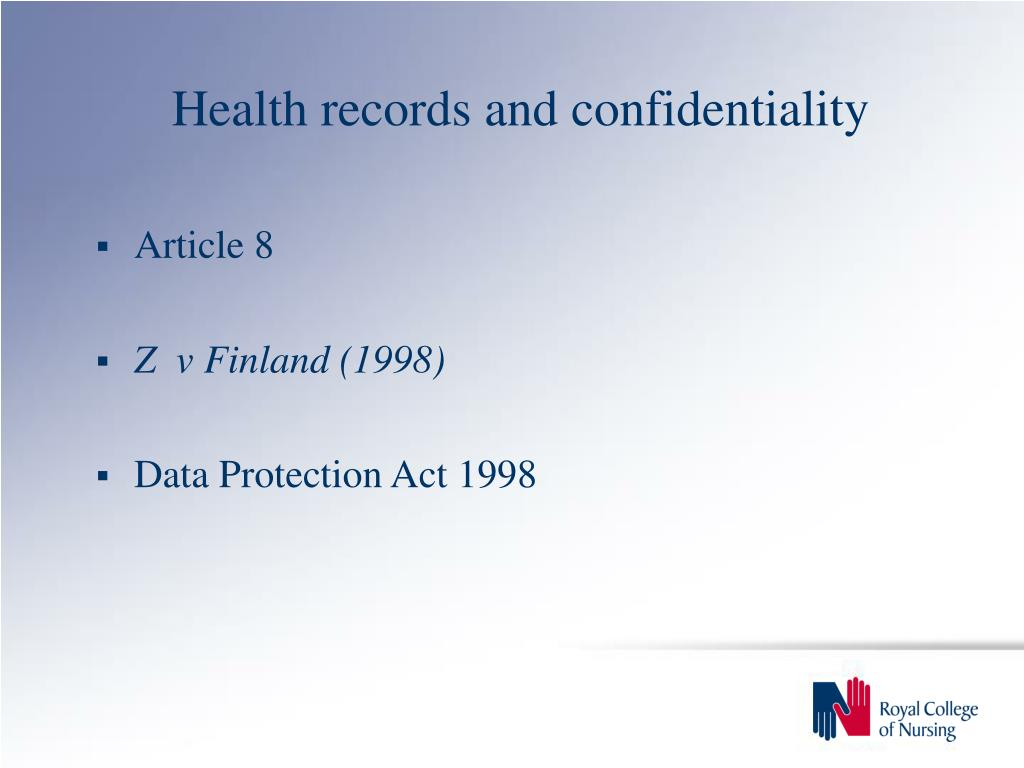 Health records and confidentiality
