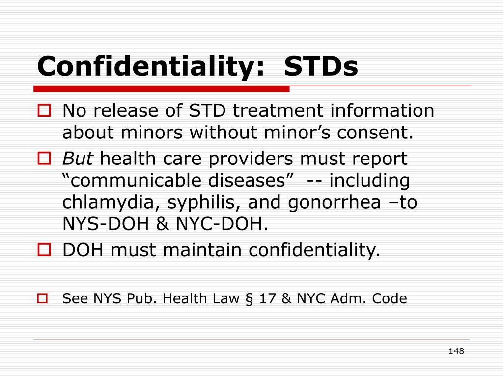 Confidentiality:  STDs