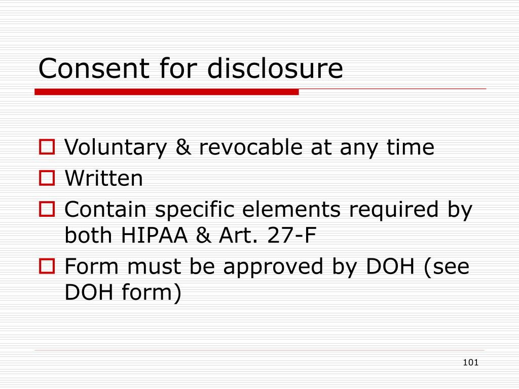 Consent for disclosure