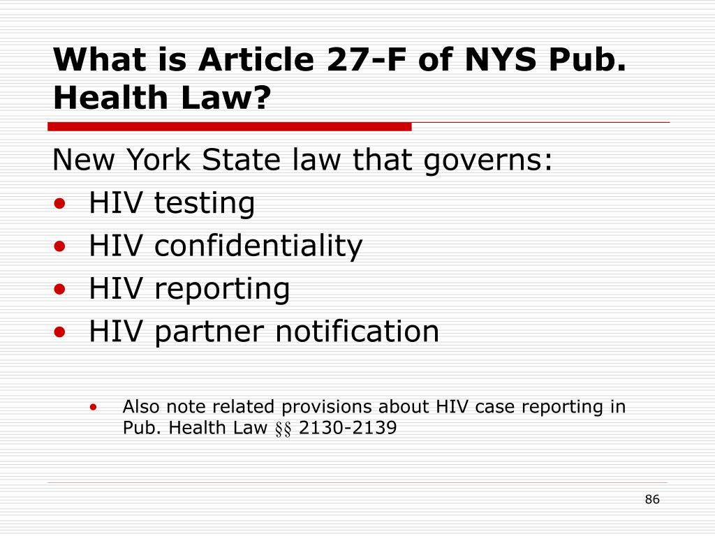 What is Article 27-F of NYS Pub. Health Law?
