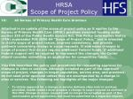 hrsa scope of project policy