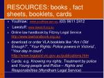 resources books fact sheets booklets cards