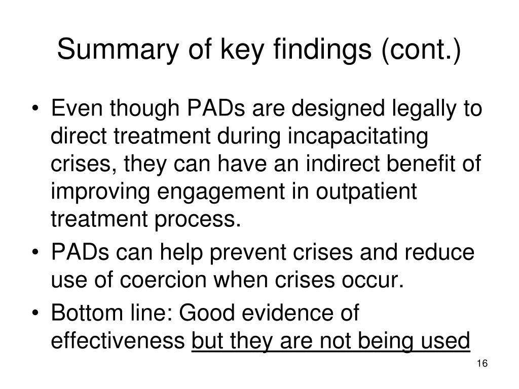Summary of key findings (cont.)