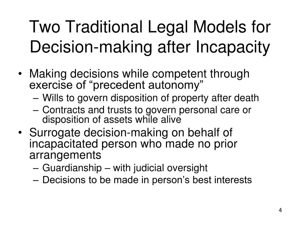 Two Traditional Legal Models for Decision-making after Incapacity