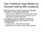 two traditional legal models for decision making after incapacity