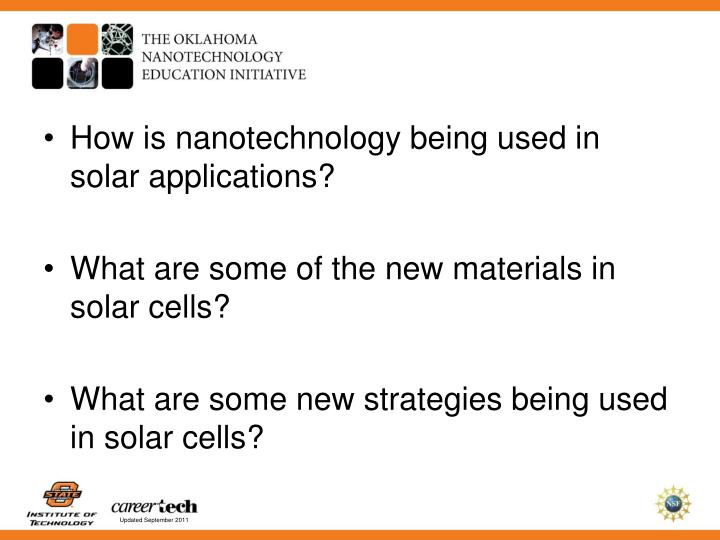 How is nanotechnology being used in solar applications?