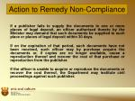 action to remedy non compliance