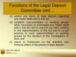 functions of the legal deposit committee cont