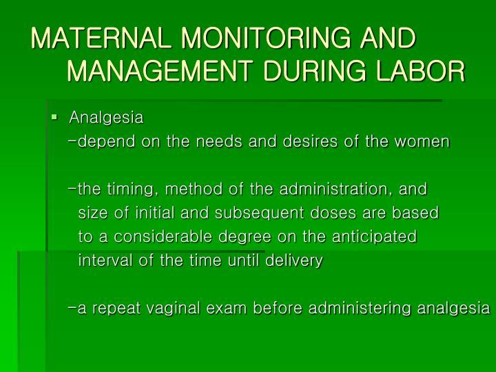 MATERNAL MONITORING AND