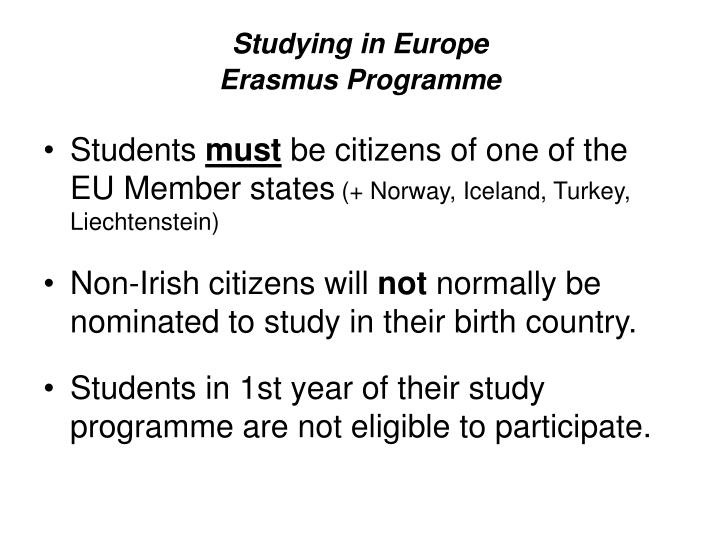 Studying in europe erasmus programme
