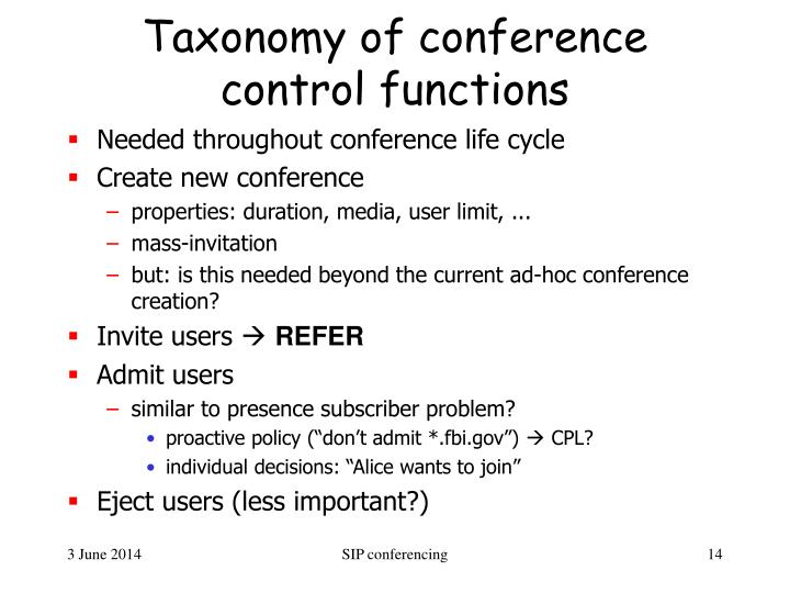 Taxonomy of conference control functions