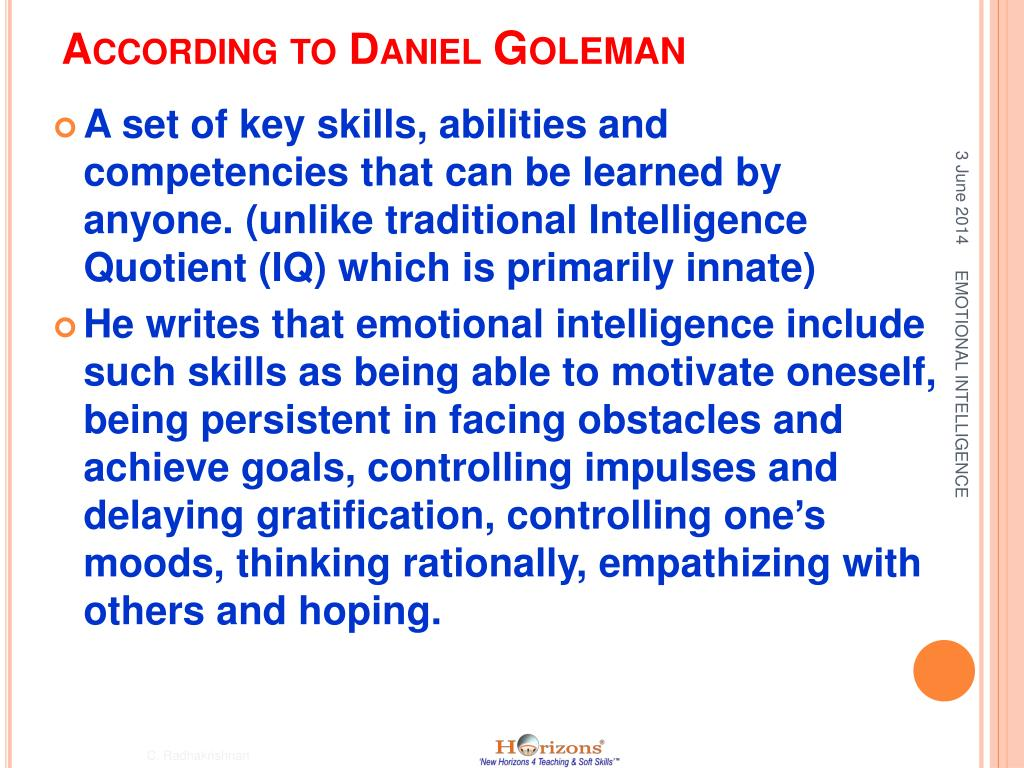 PPT - Welcome To EMOTIONAL INTELLIGENCE TRAINING PowerPoint