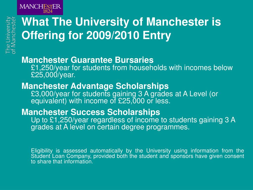 What The University of Manchester is Offering for 2009/2010 Entry