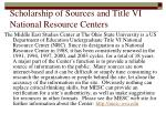 scholarship of sources and title vi national resource centers