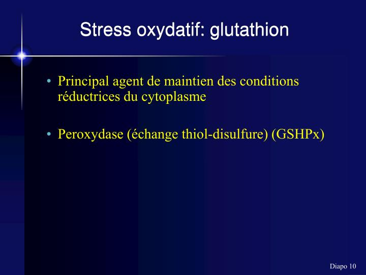 Stress oxydatif: glutathion