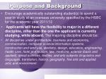 purpose and background