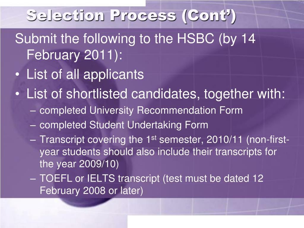 Selection Process (Cont')