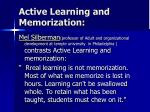 active learning and memorization