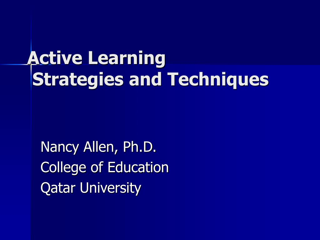 active learning strategies and techniques l.