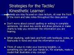 strategies for the tactile kinesthetic learner