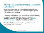 how to conceptualise formative assessment feedback